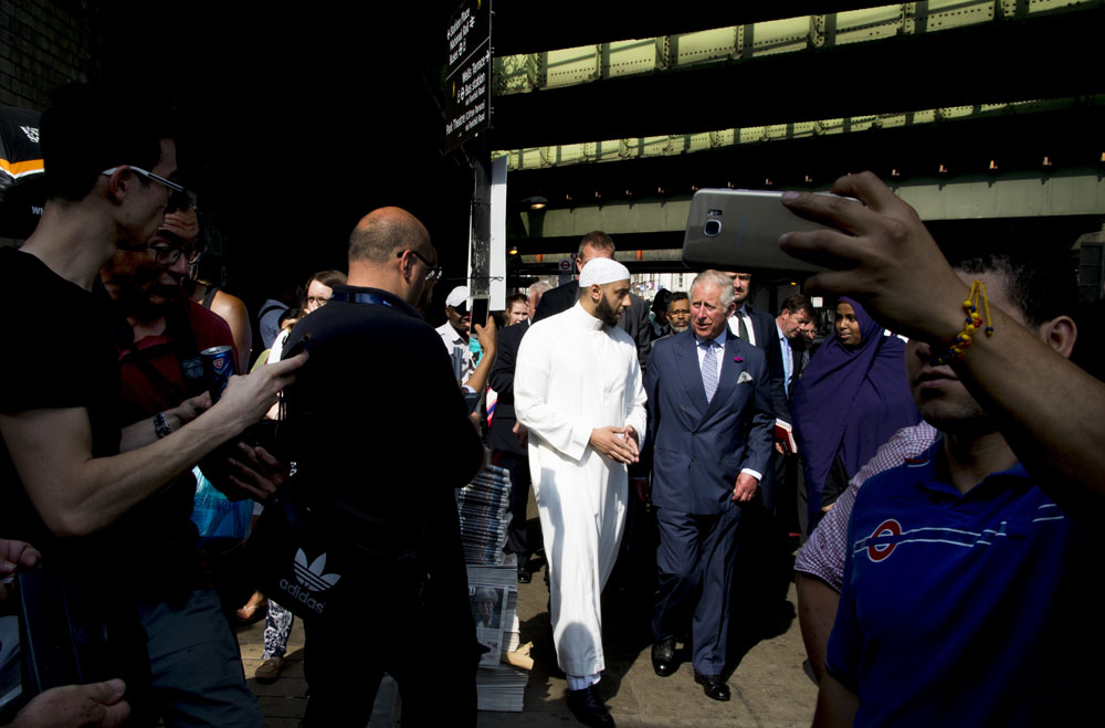 HRH Prince of Wales visit Finsbury Park tribute site to terror attack on Seven Sisters Road with 'Hero Imam' Mohamed Mahmoud and many surprised onlookers.