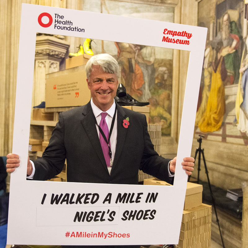 A Mile in My Shoes opening ceremony - Health Foundation and Empathy Museum at Upper Waiting Hall, Houses of Parliament on 31 Oct 2016 Rt Hon. Andrew Lansley MP walked a mile in Nigel's shoes.